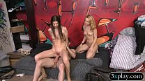 Brunette and blonde babes threesome sex