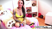 Hot Christy Mack dresses up for Halloween then plays with herself's Thumb