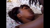 Horny black babe Star with pretty face and small tits enjoys nice fucking and then a warm facial