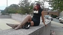 Cams4free.net - Black Dress and Fishnet Stockings