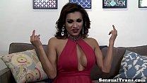 Latina shemale fucks male after bath
