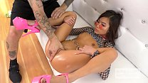 Tiny Asian Vina Sky is back for another Hookup Hotshot pounding