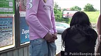Extreme daring public street bus stop sex threesome with a hot girl and 2 guys