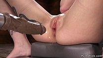 Babe in rope bondage takes anal machine porn thumbnail