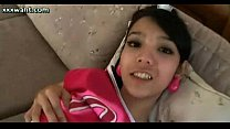 Teen shemale rubbing her dick and fingering
