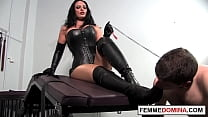 Leather Mistress Smothers Bound Sub With Big Ass