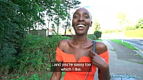 Public Agent Ebony model Zaawaadi taken into the woods for hard outdoor fucking