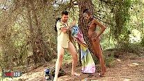 African Sex Safari with skinny ebony babe fucking white guy image
