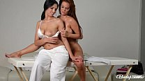 Busty lesbian masseuse Kira Queen has hot vibrator sex with Sheila Grant