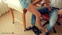 Secretary leg tease in sheer nude pantyhose