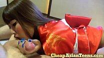 Thai Whore Aki Eating a White Farang Dick Part 1 - タイ - CheapAsianTeens.com