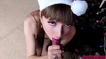 Hot Girl Teasing and Sensual Blowjob on Christmas Closeup صورة