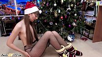 Hot Girl Teasing and Sensual Blowjob on Christmas Closeup porn image