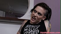sister porn sites & Inked goth beauty swallows a load of jizz thumbnail