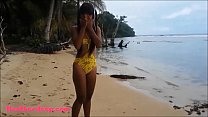 HD Ameteur Tiny Thai Teen Heather Deep day at the beach gives deepthroat Throatpie Swallow