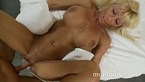 Busty blonde milf in pink top sucks and fucks dick Thumbnail