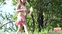 Farmer's daughter Lilia flashing you her panties