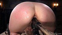 Blonde slave gets dick on a stick