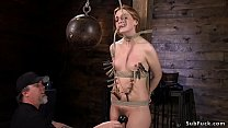 Zippered slave in bondage standing preview image