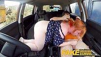 Fake Driving School Voluptuous redhead fucks in car