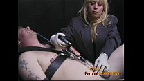 Two slutty bimbos have some naughty fun with a horny stud's rod