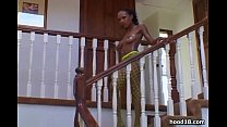 Black girl gets naughty on the stairs