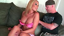 Blonde milf Mellanie Monroe unloads a cock in her mouth