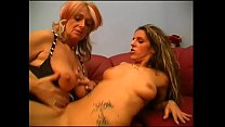Pierced granny grinds pussy on slut's mouth