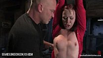 Bondage girl gets orgasm with fingers from bald man thumbnail