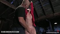 Bondage girl gets orgasm with fingers from bald man