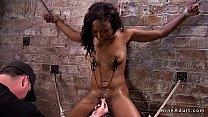 Image: Hogtied ebony slave pussy toyed