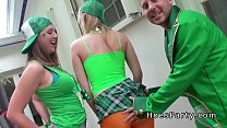 Two amateur babes got public party with blowjob