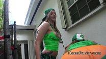 Two amateur babes got public party with blowjob