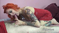 Tattooed babe Scarlett blows a geek