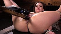 Hogtied brunette fucked with huge dildo Thumbnail
