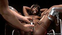 Gagged tied ebony sub gets pussy rubbed