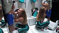 Russian Girl Sasha Bikeyeva - Real casual oral sex young amateur couple in the fitting room Bershka Spain صورة