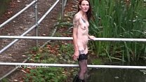 Skinny granny exhibitionist Bitez in public nudity and mature outdoor flashing o Preview