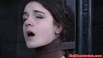 Collared slave pussyclamped while restrained video