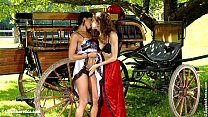 Classic period lesbians Juliette and Ashley have fun by the wagon Preview