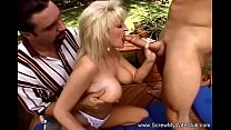 Outdoor Threesome For Trashy Blonde Housewife