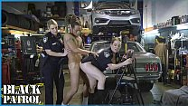 BLACK PATROL - Busty White Cops Shut Down A Chop Shop And Ride Big Black Cock video
