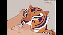 Master Tigress makes Blowjob man