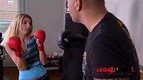 Slim petite blonde babe Missy Luv rides boxing ...