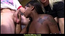 Sexy ebony snatched and group fucked by white dudes 15 preview image