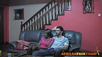 African teen seduced doggy style big white rod thumb
