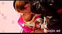 Lewd lesbian babes get at it video