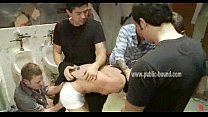 Submissive and blond man gets his mouth brutally fucked by several strange men video