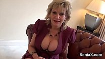 Unfaithful english milf lady sonia displays her heavy breasts
