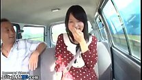 Japanese 18yo beauty gets fucked by older man in his car